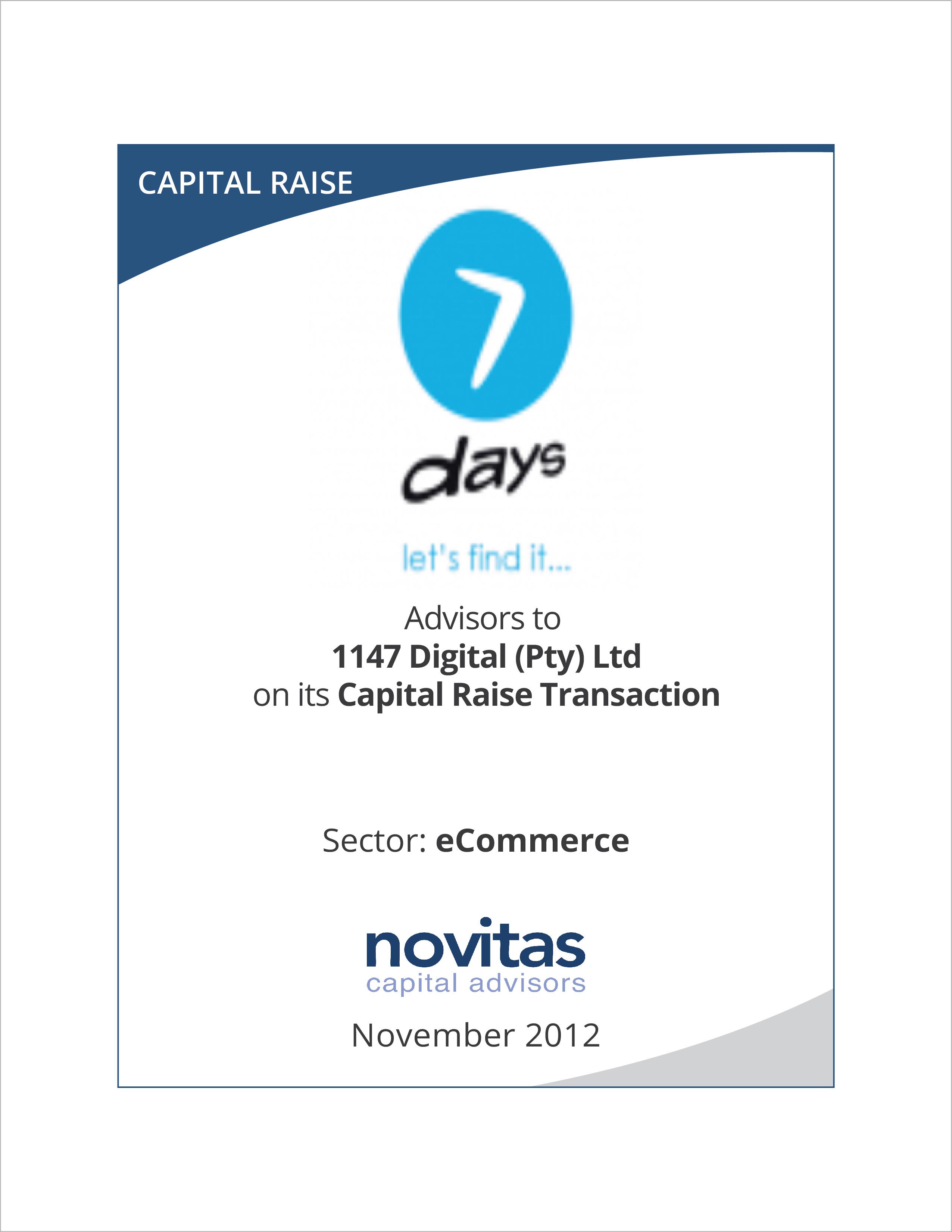 1147 digital capital raise