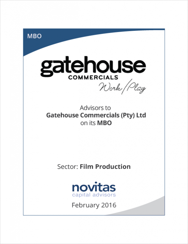 Novitas - advisors to Gatehouse Commercials on its MBO