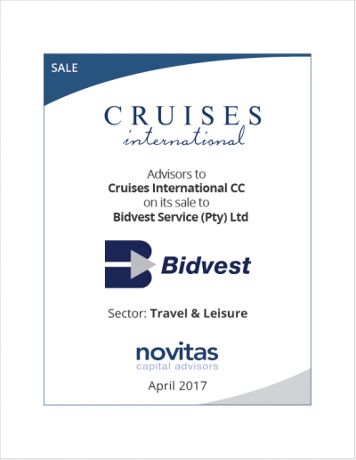 Novitas - advisors to Cruises International on its sale to Bidvest Service