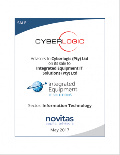 Advisors to Cyberlogic on its sale to Integrated Equipment IT Solutions
