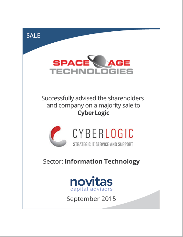Novitas successfully advised SpaceAge Technology on its sale to CyberLogic