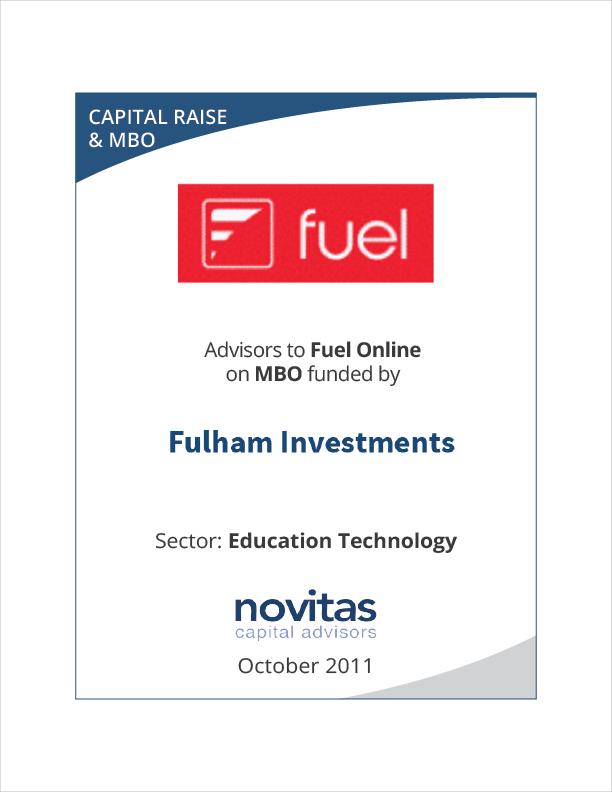 Novitas advisors to Fuel Onlines MBO