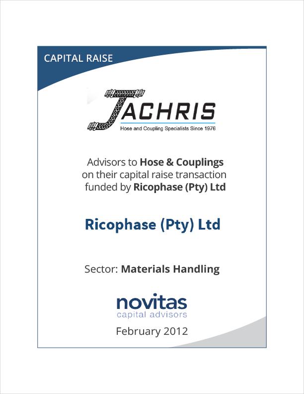 Novitas advisors to Hose & Couplings capital raise by Ricophase