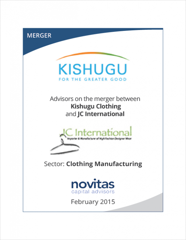 Novitas - advisors on Kishugu Clothing and JC International merger