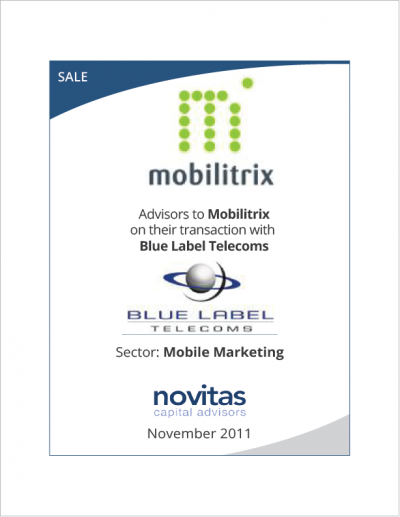 Novitas advisors to Mobilitrixs transaction with Blue Label Telecoms