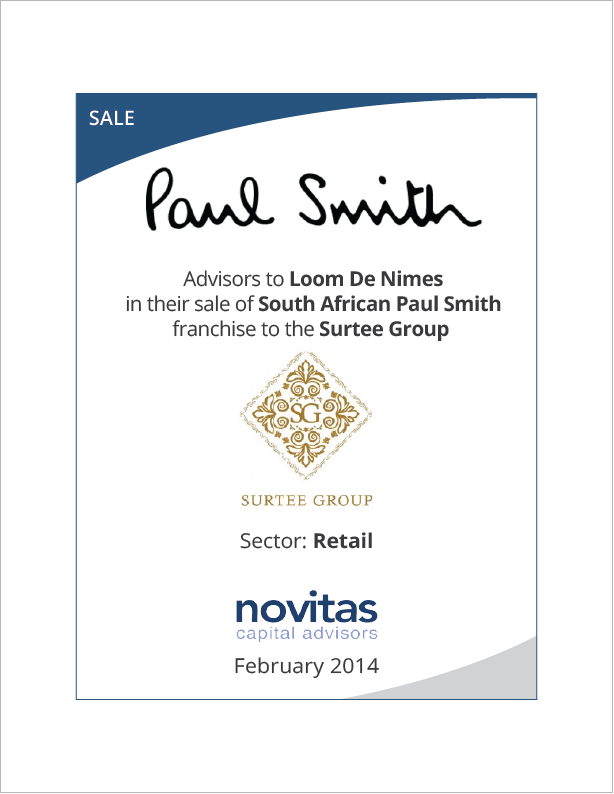Novitas - advisors to Loom de Nimes on their sale of South African Paul Smith to Surtee Group